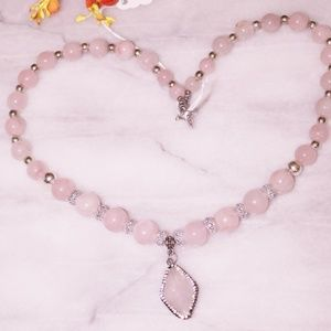 Natural Light Rose Quartz Gemstone Necklace